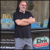 Shane O'Connor outside Elvis radio in Graceland, Memphis, TN